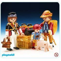 Family With Suitcases and Pig