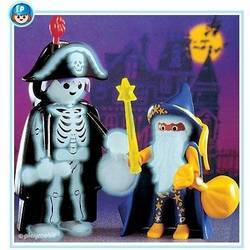 Magician and Halloween skeleton
