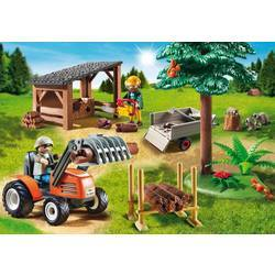 Woodcutters with tractor