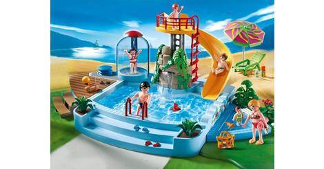 Piscine avec toboggan playmobil 4858 for Piscine playmobile 4858