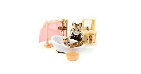 Striped Dad And Baby In Bathroom Sylvanian Families Europe 2506