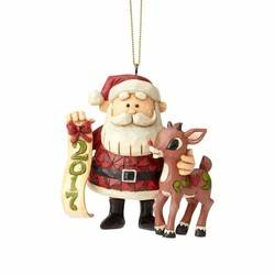 Rudolph and Santa 2017 Dated Hanging Ornament