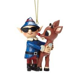 Rudolph with Elf in Sunglasses Hanging Ornament