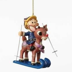 Skiing Rudolph and Hermey Hanging Ornament