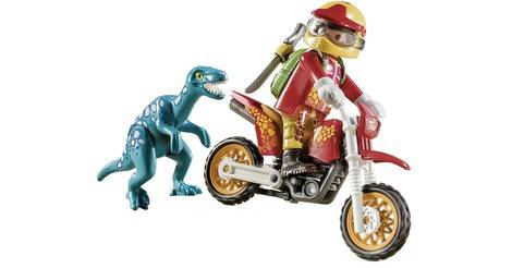 Playmobil 9431 Dinos Motorcross avec Raptor Playset